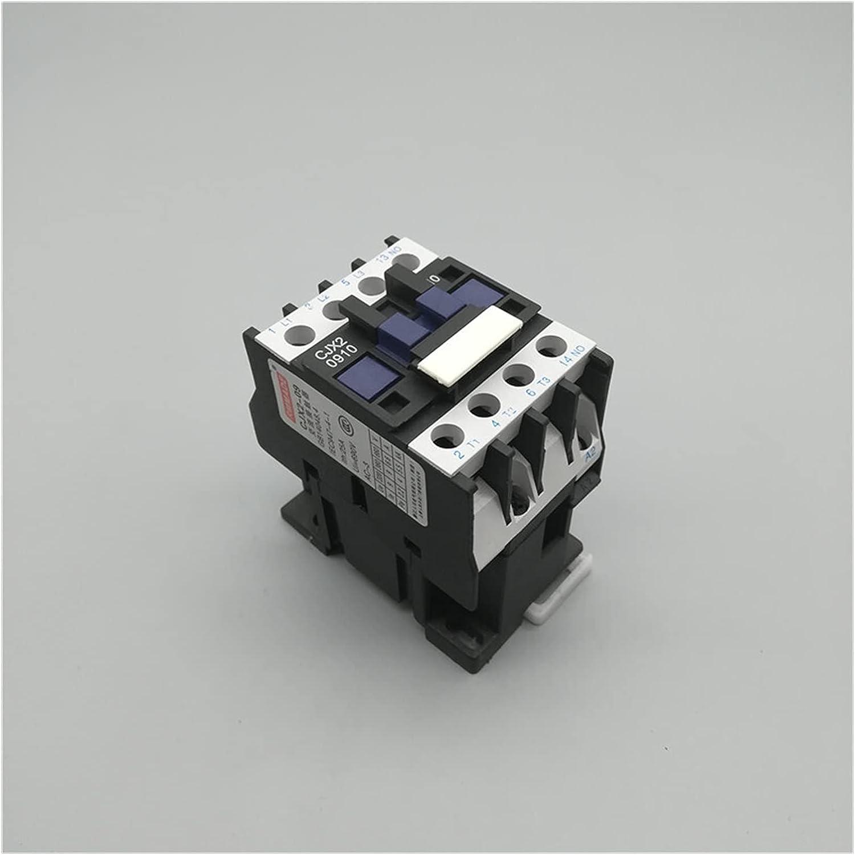 Jgzwlkj Contactor CJX2-0910 LC1 AC Contactor 9a 3 Fase de 3 Polos con Voltaje de Bobina 38 0V 220V 110V 36V 24V 12V 50/60 Riel DIN HZ MONTADO 3P + 1NO Bien Abierto (Color : AC 380V)