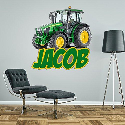Adhesivo de pared personalizado con tractor para dormitorio de niños, 2 tamaños, vinilo, Medium - 75cm wide x 78cm high