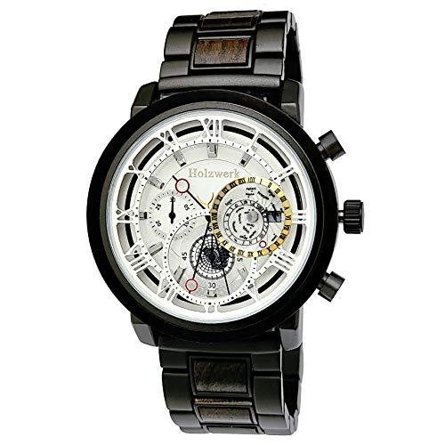 Holzwerk Germany, orologio da uomo realizzato a mano, in legno ecologico, cronografo, orologio analogico al quarzo, marrone, nero, numeri romani, data, quadrante in legno