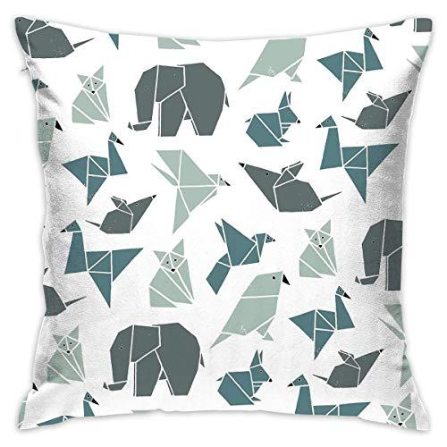 Egoa Cushion Cover Origami Animal 45X45Cm Funda De Almohada Funda De Almohada con Cremallera Impresión Especial A Doble Cara Cojines De Sofá Funda De Cojín Suave