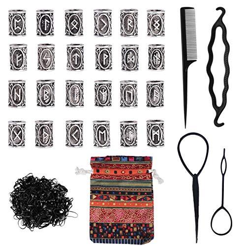 M 24pcs Beard Beads Dreadlocks Viking Rune Beads Accesorios Nordic Runic Beads con 500pcs Bandas de Goma Negras y Herramientas para el Cabello Pulseras Trenzadas Colgante