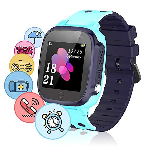 NAIXUES Smartwatch Niños, Reloj Inteligente Niño IP67, Reloj niños con Juego, Hacer Llamada, Chat de Voz, Localizador LBS, SOS, Despertador, Modo de Clase, Cámara, Regalo para niños de 3-12 años