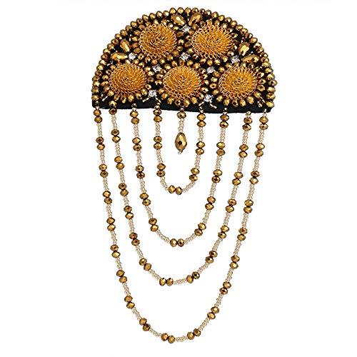 YIJIAHUI- Knoppen & Badges Epauletten Kwastketting Blazer Epaulet Tassel Metalen Punk Kpop Fringed Schouder Epaulette Goud