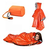 WAEKIYTL Emergency Survival Sleeping Bag Set, Lightweight Waterproof Thermal Emergency Blanket and Poncho, Bivy Sack with Portable Drawstring Bag for Outdoor Adventure, Camping (Sleeping Bag + Poncho)