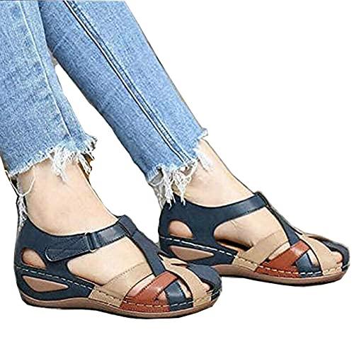 Sandalia de Plataforma Casual Ortopédica para Mujer, Cómoda y Elegante, con Plataforma de Cuña, Gancho y Lazo, Gladiador, Sandalias Informales al Aire Libre (Azul,38)