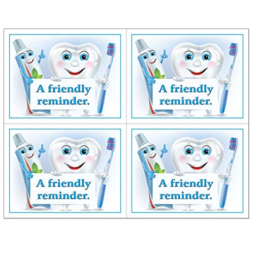 4 Up Laser Reminder Postcards, Dental Appointment Reminder Postcards. 4 Cards Perforated for Tear-Off at 4.25