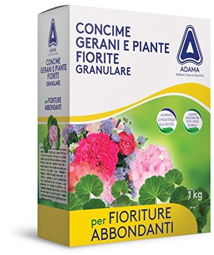 adama CONCIME NUTRIMENTO GRANULARE 1KG GERANI Piante Fiorite NPK 8-15-11