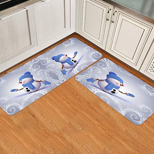 """Prime Leader 2 Piece Non-Slip Kitchen Mat Runner Rug Set Doormat Xmas Merry Christmas Snowman Skiing Pattern Door Mats Rubber Backing Carpet Indoor Floor Mat (15.7"""" x 23.6""""+15.7"""" x 47.2"""")"""