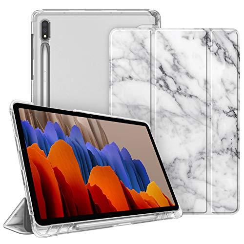 Fintie Hülle für Samsung Galaxy Tab S7 11 2020 - Silm Schutzhülle mit durchsichtiger Rückseite Abdeckung Cover, Auto Schlaf/Wach für Samsung Tab S7 SM-T870/875, Marmor Weiß