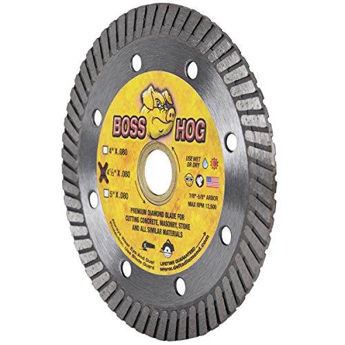Boss Hog 4 1/2' Turbo Diamond Blade for Masonry, .080 X 7/8'-5/8' Arbor, for use with Hand-Held Grinders Cutting Masonry, Concrete, Stone and Similar Materials (4 1/2-Inch)