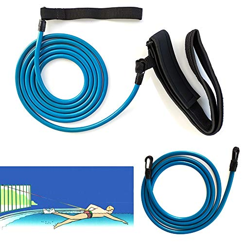 Drasry Swim Training Belt with Two Rubber Tubes Swimming Resistance Tether Stationary Swim Bungee Cords Resistance Bands Swim Harness Static Swimming Belt Training Elastic Belts (Blue)
