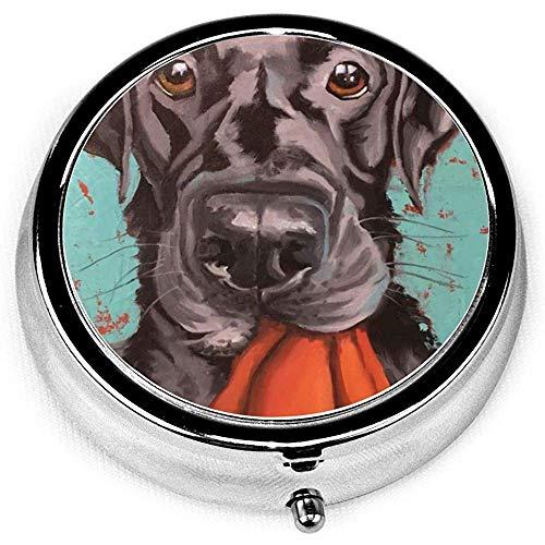 Labrador Retriever cane nero arte pittura vintage novità rotonda scatola della pillola tasca medicina tablet supporto organizzatore custodia per borsa regalo unico