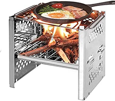 Hemore Burner BBQ Propane Gas Grill, Stainless Steel 30,000 BTU Patio Garden Barbecue Grill with Two Foldable Shelves