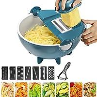 ハンドヘルド野菜チョッパー-ドレインバスケット付き9 in 1多機能野菜カッター、最高のベジチーズシュレッダーおろし金、フルーツピーラー