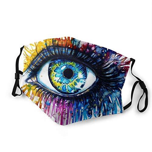 Doppelseitig bedruckter Mundschutz mit 2 Filtern für Augen, Zeichnen, Aquarellaugen, wiederverwendbar, verstellbarer Gesichtsschutz für den täglichen Gebrauch Gr. 80, Schwarz