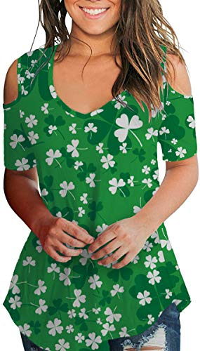 Women's St. Patricks Day Shirts Shamrock Irish Clover Tops Holiday Green S