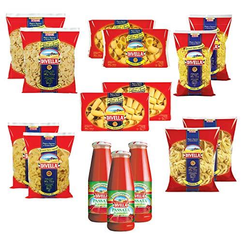 DIVELLA Hello italy Box Kit 12 Confezioni di Pasta da 500gr dalle Specialità Regionali + 3 Passata di Pomodoro in bottiglia da 680 gr