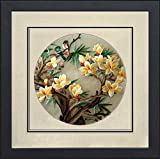 Silk Art 100% Handmade Embroidery Framed Two Love Birds on Yellow Cherry Blossom Trees Chinese Print Wildlife Bird Painting Anniversary Wedding Birthday Party Gifts Oriental Asian Wall Art 35024WF