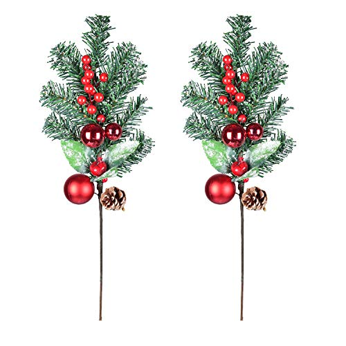 DearHouse 2 Pack Red Berry Stems Artificial Pine Picks,19 Inches Christmas Stems for Christmas Tree Decorations, Christmas Flower Arrangements Wreaths, Garlandsand Holiday Decor