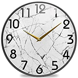 Naanle White Marble Stone Print Round Wall Clock, 9.5 Inch Silent Battery Operated Quartz Analog Quiet Desk Clock for Home,Office,Schoold