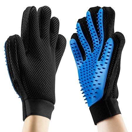 Zhongsheng Pet Bürste Handschuh, Haustier Grooming Bürsten Deshedding Glove Cat Haar-Remover-Bürsten Massage-Handschuh Pflegenbürste (Blaue.rechte Hand)