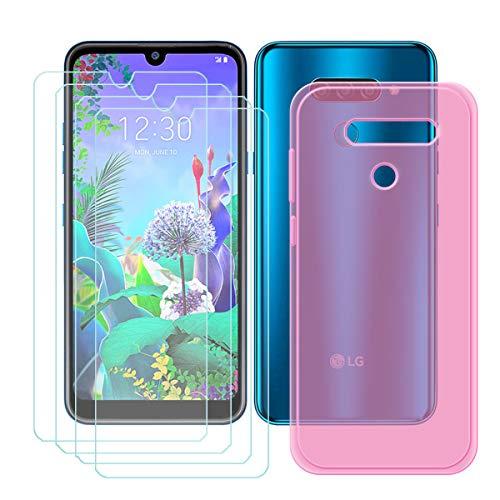 YZKJ Capa para LG K12 Max + 4 películas protetoras de tela de vidro temperado – Capa de proteção de silicone TPU flexível e macia em gel rosa para LG K12 Max (6,2 polegadas)