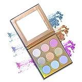 1 Stück Holographic Highlighter Makeup-Palette 9 Farben-Schimmer-Lidschatten Illuminating Glow...