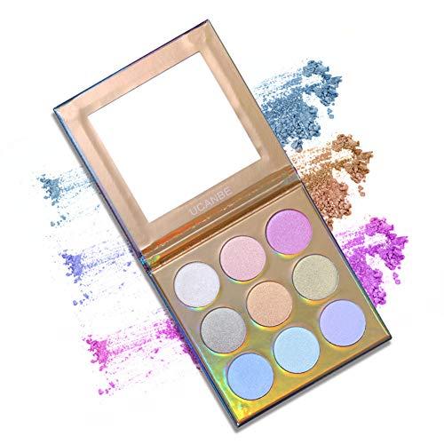 1 Stück Holographic Highlighter Makeup-Palette 9 Farben-Schimmer-Lidschatten Illuminating Glow Hervorhebungen Metallic Bronzer Contour Kosmetik mit Spiegel-Frauen Geschenke