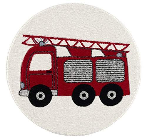 Livone Spielteppich Moderner Teppich Kinderzimmer Kinderteppich Feuerwehrauto in rot Silber grau...