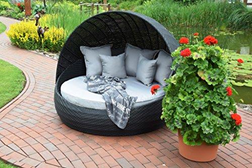 Sonneninsel Polyrattan Rattan WT-6001 Lounge Wellness schwarz festes Dach