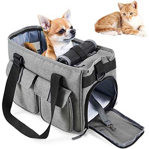 Small Dog Carrier Cat Handbag Lightweight Pet Oxford Travel Soft Sided Shoulder Carry Bag for Kitten Rabbit Guinea Pig (light Grey)