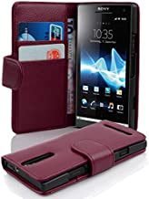 Cadorabo Case Works with Sony Xperia S (Design Book Structure) - with 2 Card Slots - Wallet Case Etui Cover Pouch PU Leather Flip PASTEL-PURPLE DE-100196