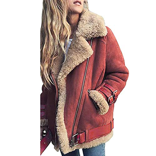 iHENGH Damen Warm bequem Parka Winter Jacke Faux Pelz Fleece Parka Mantel Outwear Revers Biker Motor Aviator(EU-54/CN-5XL,Rot)