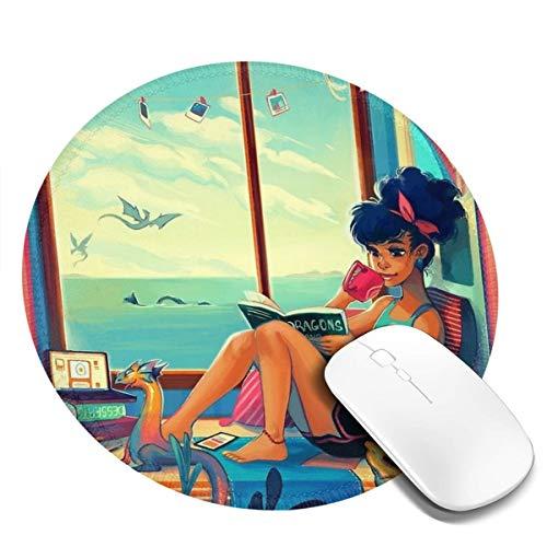 7.9x7.9in meisje drinken thee en lezen boek op vensterbank ronde muismat bureau toetsenbord mat grote muis pad voor computer desktop laptop
