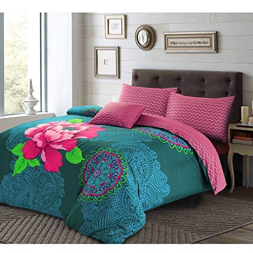 Nimsay Home Janice, set copripiumino per letto matrimoniale, stile etnico bohémien, con motivo floreale, facile da pulire, colore: viola
