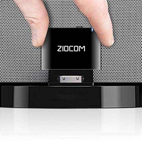 ZIOCOM [actualizado] Receptor Adaptador Bluetooth de 30 Pines para iPhone, iPod Bose SoundDock y Otros Altavoces de Base de 30 Pines con Cable Auxiliar de 3,5 mm (no para automóvil), Negro