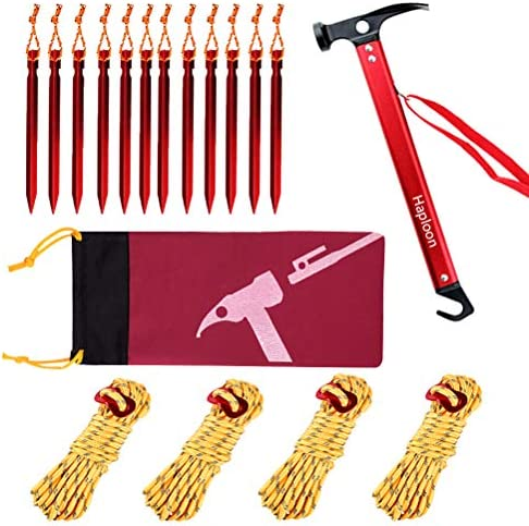 Haploon Camping Accessories Kit Aluminum Tent Mallet Stake Hammer with Metal Tent Pegs Nylon product image