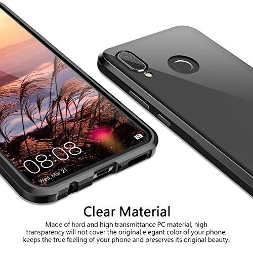 CE-Link Huawei Nova 3 Hülle Glas mit Magnetisch Panzerglas Durchsichtig Handyhülle Transparent Ultra Slim Dünn 360 Grad Schutzhülle Bumper Schutz - Schwarz - 3