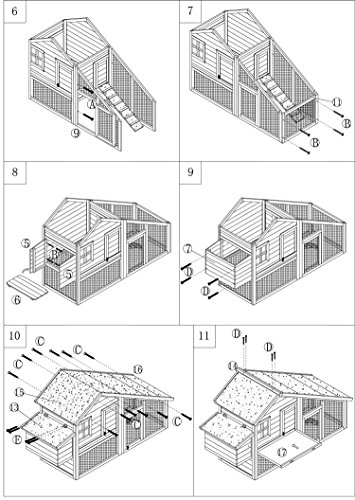 dobar 24001FSC Doppelstöckiger Hühnerstall mit Freigehege auf 2 Etagen, fuchssicher mit verstärktem Zinkdraht, FSC-Holz, Zinkwanne, Doppelboden, Plexiglas-Fenster, 173 x 66 x 120 cm - 6
