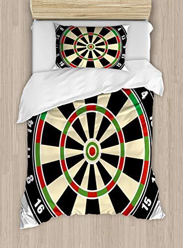 ABAKUHAUS Sport Bettbezug Set für Einzelbetten, Dart Board Lifestyle, Milbensicher Allergiker geeignet mit Kissenbezug, 130 x 200 cm, Vermilion Grün Schwarz