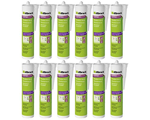 12x Illbruck LD701 Strukturacryl Putzacryl mit körniger Struktur zur Reparatur von Wand + Fassade 310ml Weiss