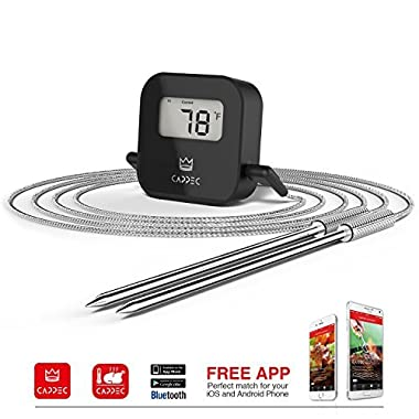 CAPPEC Dual Probe Bluetooth Wireless Digital Cooking Meat Thermometer for BBQ Oven and Grill, Smoker Friendly (New Version)