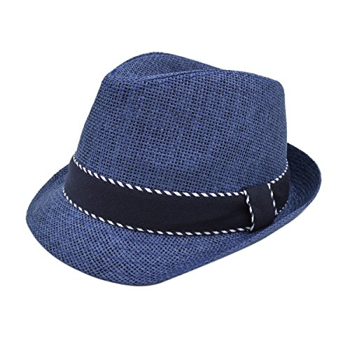 Premium Classic Fedora Straw Hat with Navy Striped Trim Band, Natural