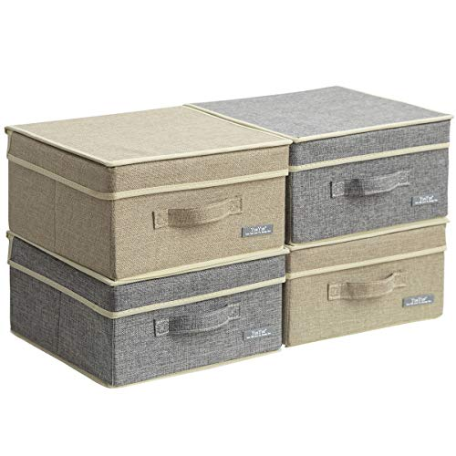 YueYue 4 Pack Small Fabric Storage Box with Lids, Foldable Linen Storage Box with Lids 4 Pieces Gray&Linen Set 12.4in/12in/6.7in