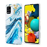 DEFBSC for Samsung Galaxy A71 Marble Case, Glitter Blue