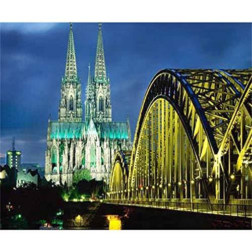 LYDXD DIY 5D Diamond Painting Kits Kölner Dom Und Hohenzollernbrücke Nachtszenenbild Voll Mosaik Kreuzstich 50x60cm
