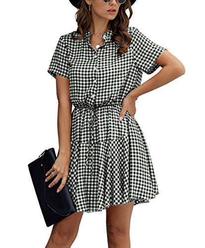 KIRUNDO 2020 Women's Summer Plaid Stripes Snake Mini Dress Short Sleeves Button Down High Waist A Lined Dress with Belt (X-Large, Black)
