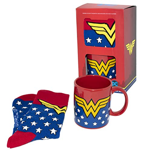 Paladone Wonder Woman Mug and Socks Set | Ideal for A Superhero Coffee Or Tea | Inspired by DC Retro Design for Comic Fans, Ceramic, Multi-Colour, Standard Size