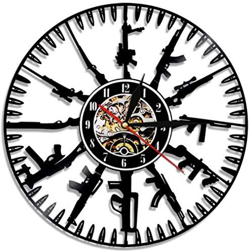 N/A LibjiaBullet Time Wanduhr Pistole Munition Home Decor Pistolenbesitzer Vinyl Record Wanduhr Militär Wandkunst Geschenk Für Soldaten Und Armee