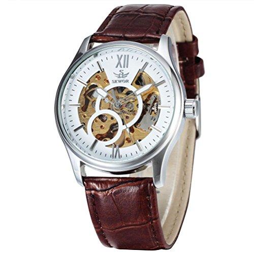 Pixnor–Reloj de pulsera para hombre con mecánica automático Blanco (Plata), color marrón
